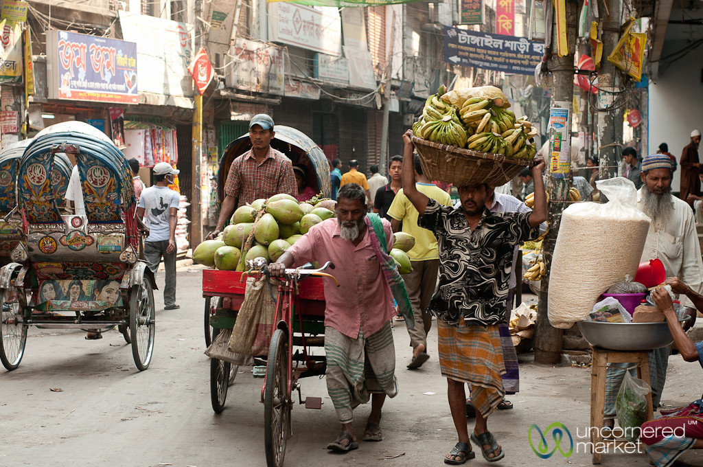 Typical Street Scene in Shakhari Bazar - Dhaka, Bangladesh