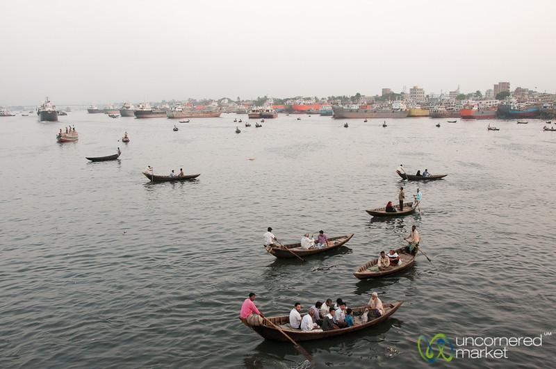 Rowboats at Dusk at Sadarghat - Dhaka, Bangladesh