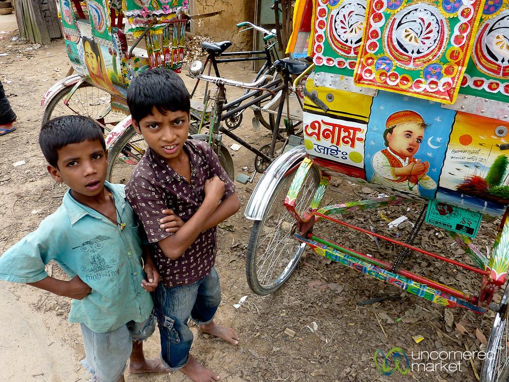 Boys and Bicycle Rickshaw - Outside Srimongal, Bangladesh
