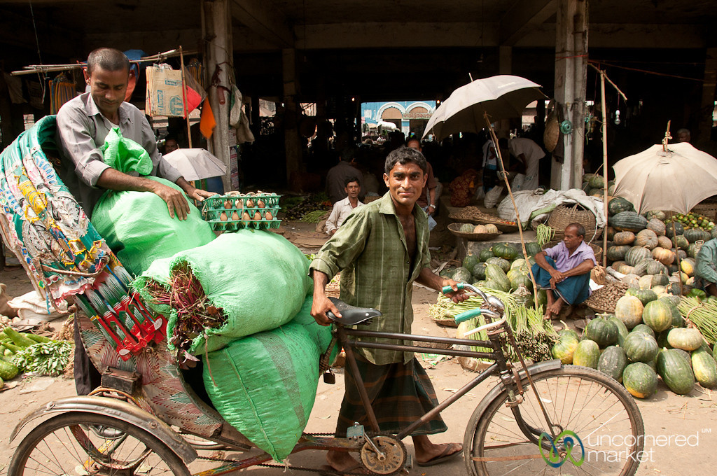 Bicycle Rickshaw Hauls Vegetables - Srimongal, Bangladesh