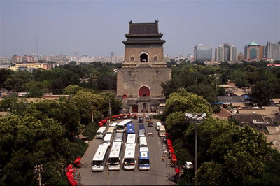 View of the old gate from the Drum Tower, Bejing