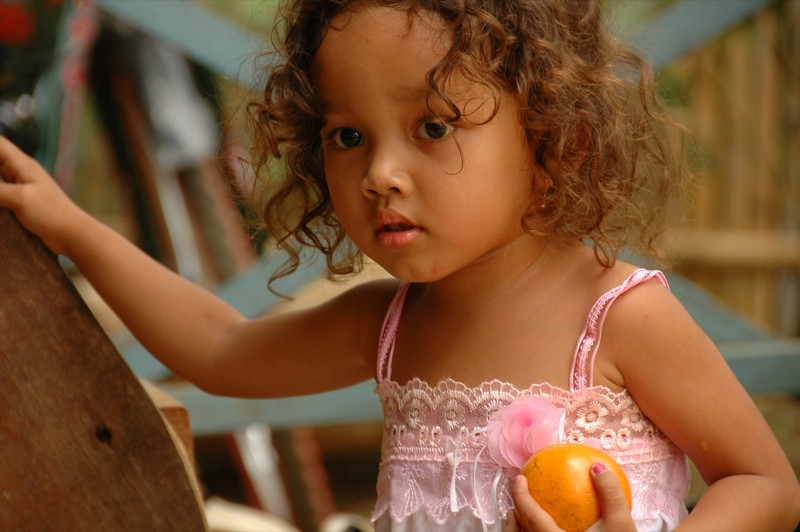 Girl with Curly Hair - Battambang, Cambodia