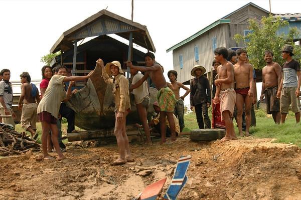 Men Building a House Boat - Battambang, Cambodia