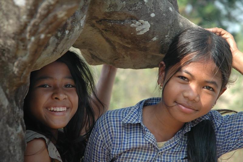 Kids Under an Elephant - Angkor, Cambodia