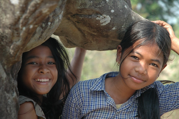 Kids Under an Elephant - Angkor, Cambodia