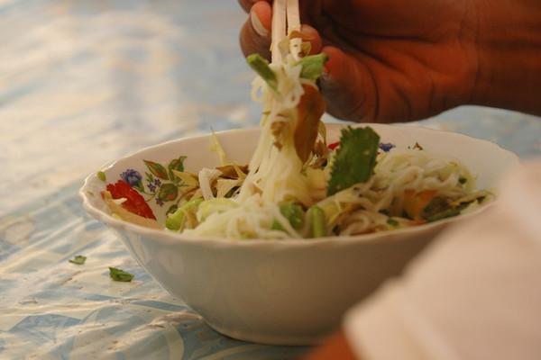 Cambodian Morning Soup (Num Banh Choc) - Angkor, Cambodia