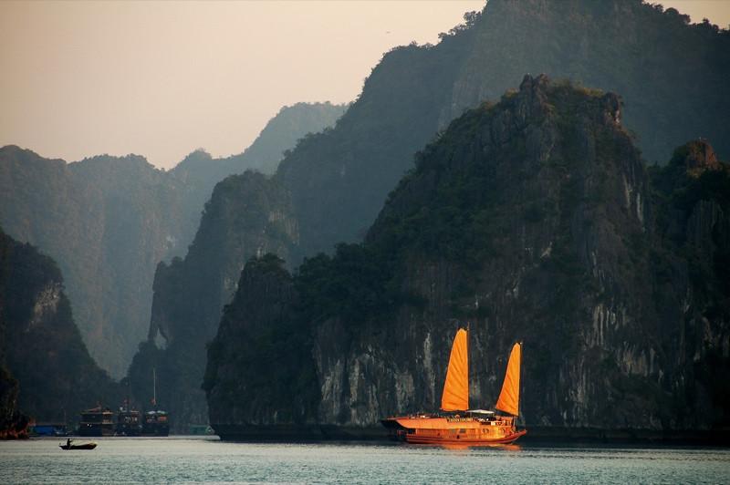 Chinese-Style Junk Boat - Halong Bay, Vietnam