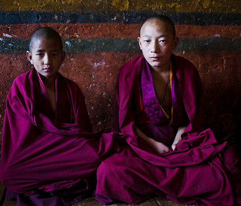 The beautiful colors of the school room for young monks in Paro.  Are we wondering about them, or are they wondering about us?