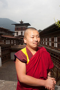 The senior Monk, Trongsa Bhutan confident in his poise and pose