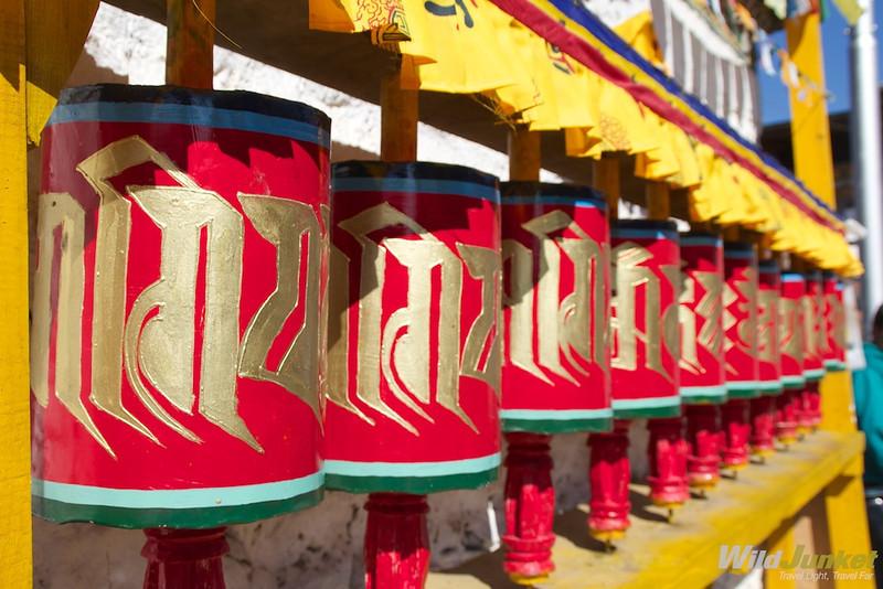 Prayer wheels in Paro town