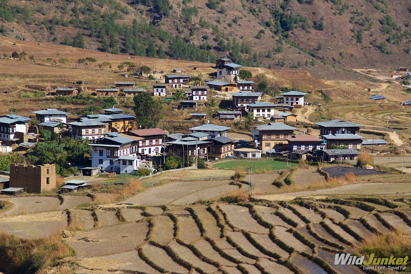 Rice terraces and villages in Wangdue Phodrang