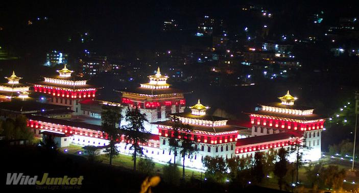 Tashichho Dzong in Thimphu by night