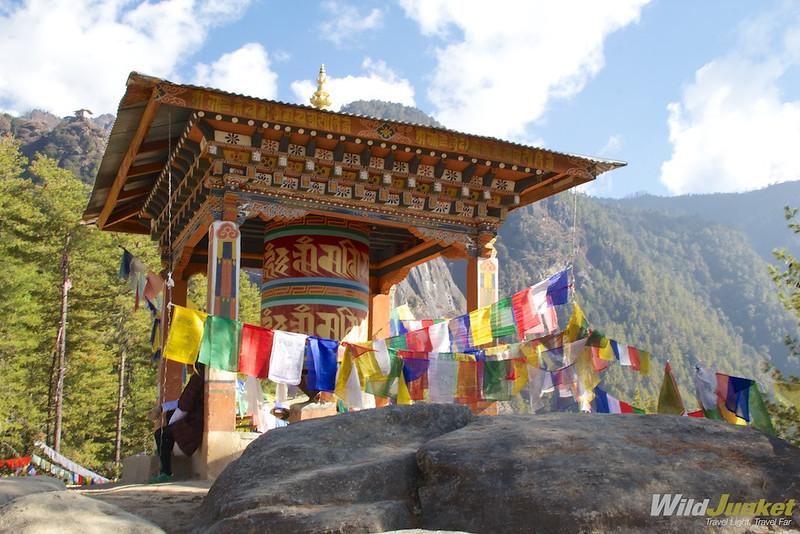 A prayer wheel on the slopes of Taktshang