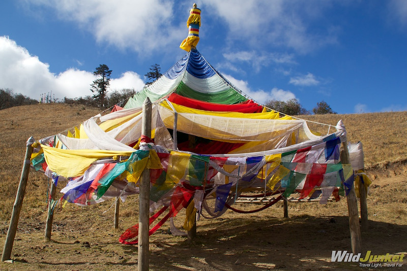 Prayer flags made into the shape of a stupa