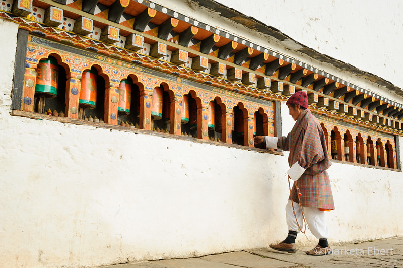 Working the prayer wheels