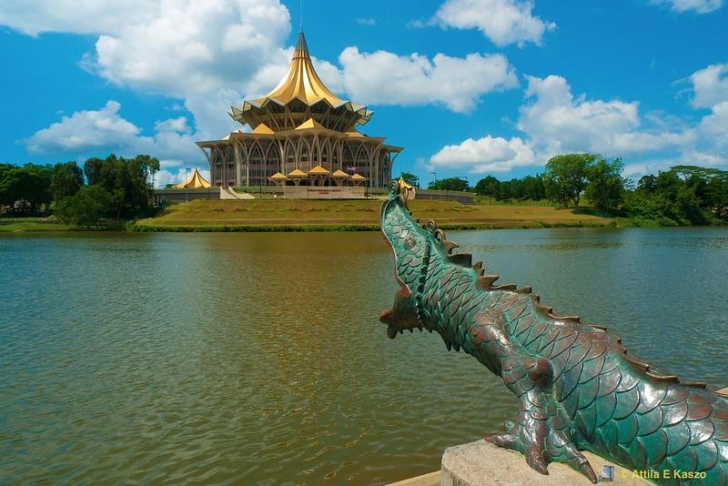 Sarawak State Assembly Building, Chinese Canon, Kuching, Borneo, Malaysia