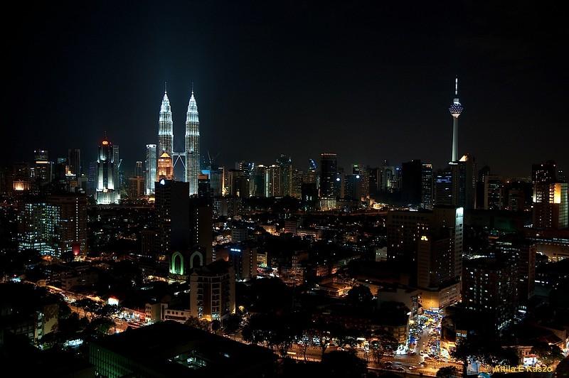 Kuala Lumpur - Night, Petronas Towers, KL Tower, Malaysia