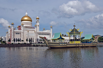 Mosque and Boat 1 - Brunei