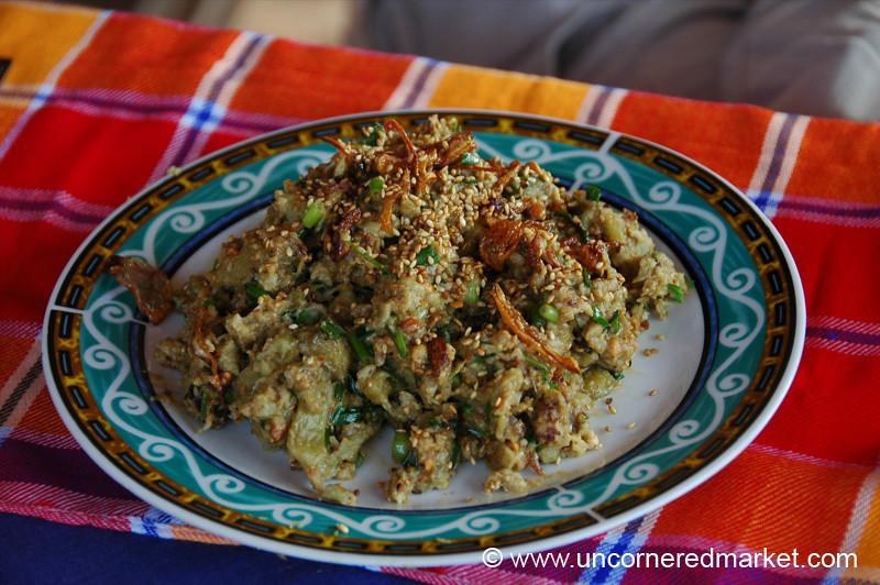 Burmese Food, Roasted Eggplant Salad - Bagan, Burma