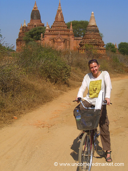 Audrey Biking Around Pagodas - Bagan, Burma