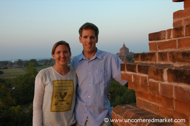 Audrey and Dan at the Temple - Bagan, Burma