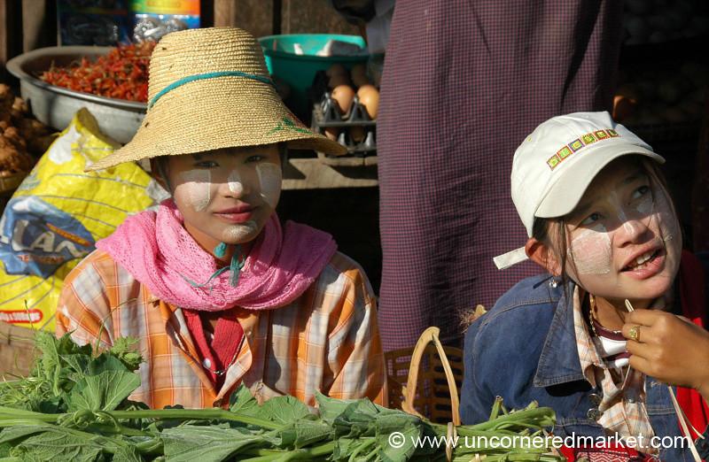 Market Vendors with Hats - Toungoo, Burma