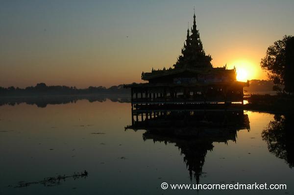 Sunset, Lake and Pagoda - Toungoo, Burma