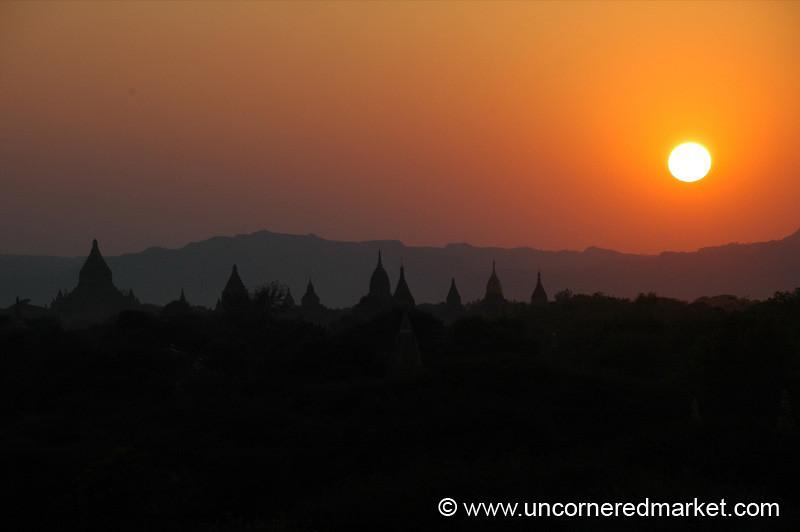 Sunset Over Bagan Temples - Burma