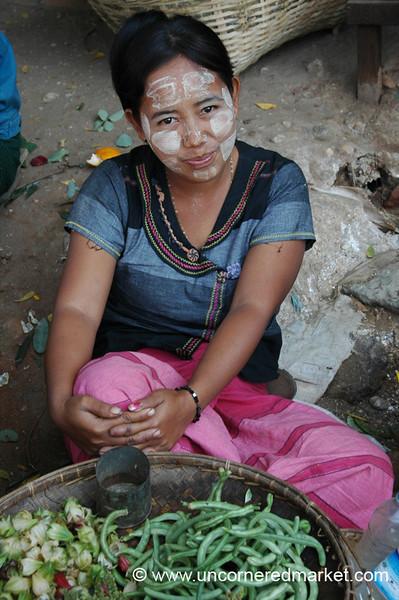 Market Vendor with Thanaka Cheeks - Bagan, Burma