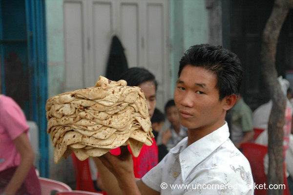 Stack of Chapatis - Mandalay, Burma