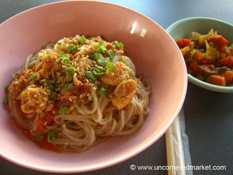 Burmese Food, Spicy Noodles - Rangoon, Burma (Yangon, Myanmar)