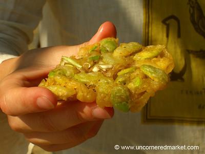 Burmese Food, Fried Broad Bean Fritters - Mingun, Burma