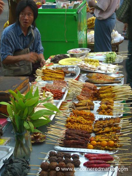 Burmese Food, Barbecue Street - Rangoon, Burma (Yangon, Myanmar)