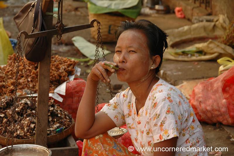 Burmese Woman Smoking a Cigar - Rangoon, Burma (Yangon, Myanmar)