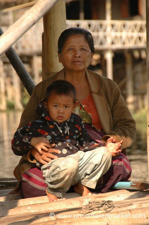 Burmese Grandma and Her Grandson - Inle Lake, Burma