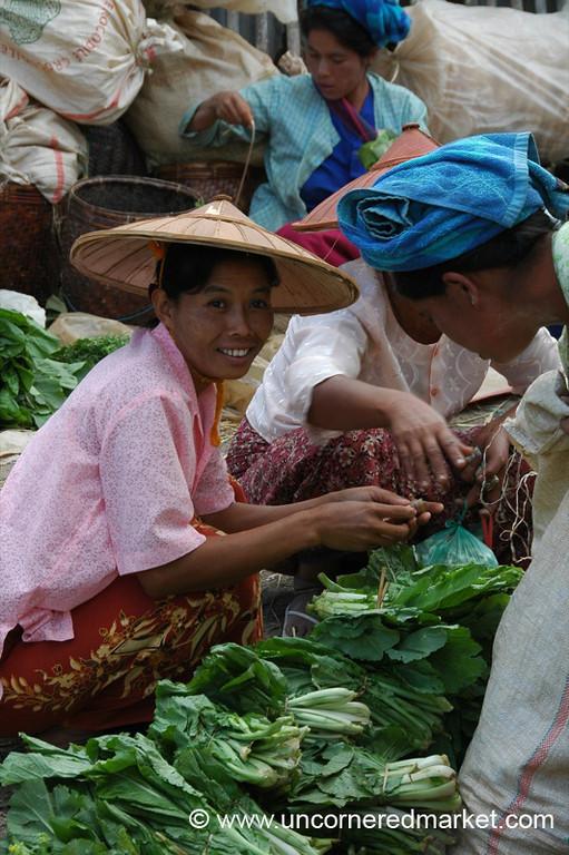 Fresh Greens, Nam Pan Market - Inle Lake, Burma