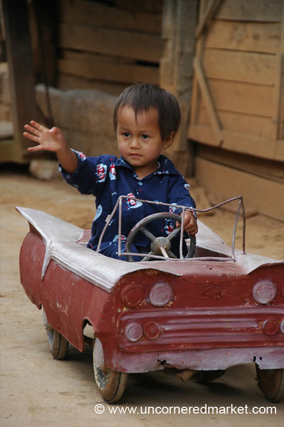 Little Burmese Boy in His Little Car - Inle Lake, Burma