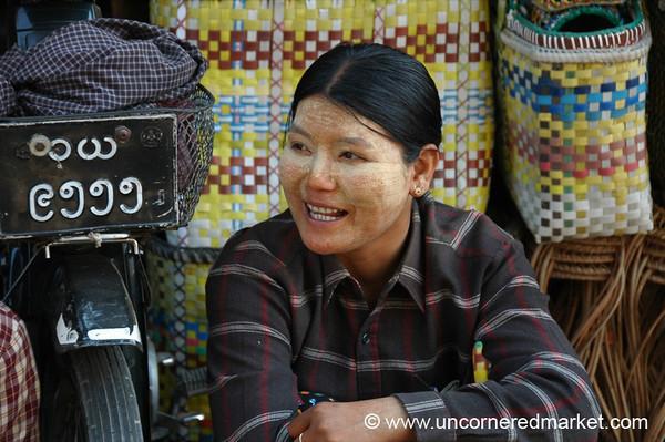 Burmese Woman, Mann Thida Market - Mandalay, Burma