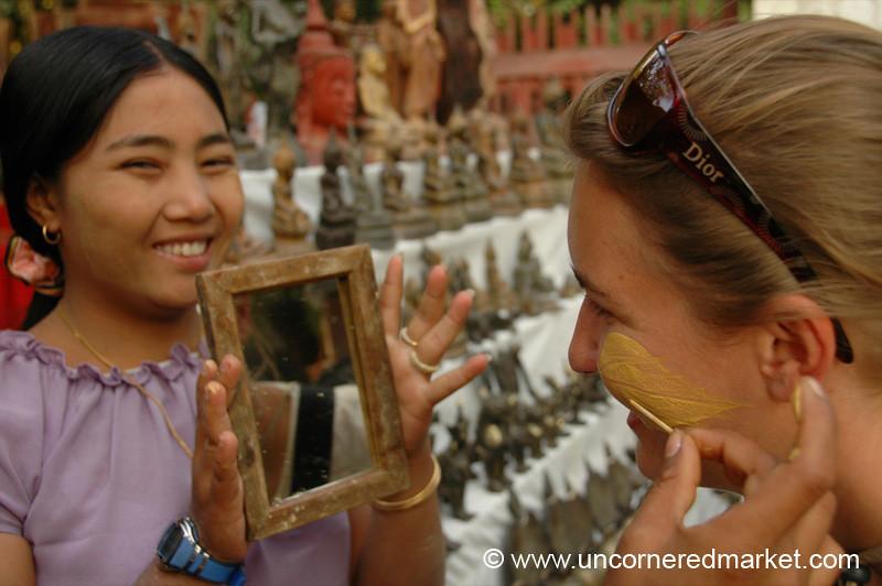 Putting on Thanaka - Mandalay, Burma