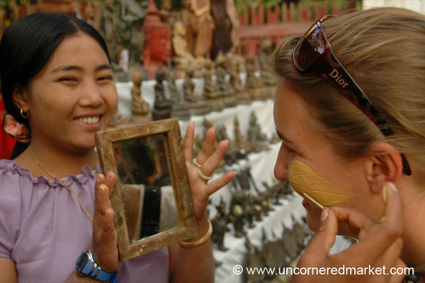 Putting on Thanaka - Mandalay, Burma