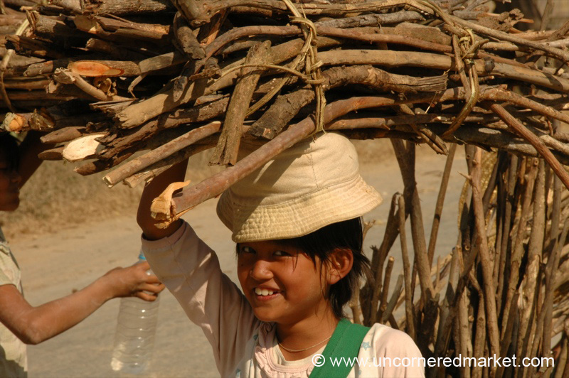 Child with Heavy Bundle of Wood - Inle Lake, Burma