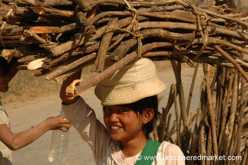 Child with Heavy Bundle of Wood - Inle Lake, Burma
