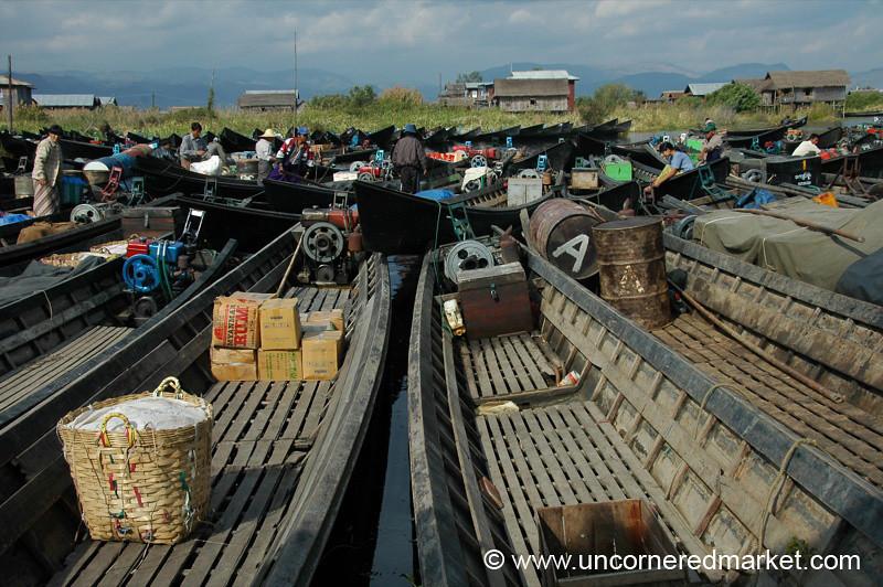 Boat Parking Lot at Nam Pan Market - Inle Lake, Burma