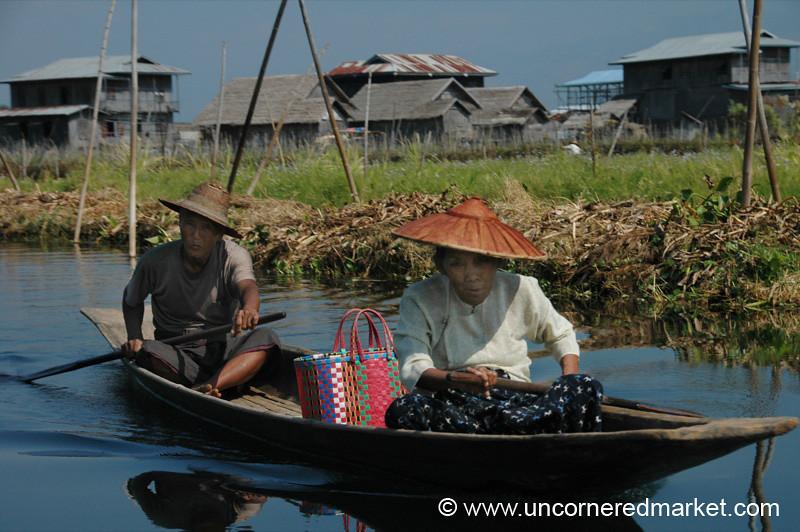 Couple Rowing the Boat - Inle Lake, Burma
