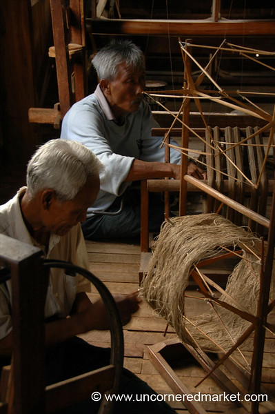 Men Weaving Lotus Flower Strands - Inle Lake, Burma