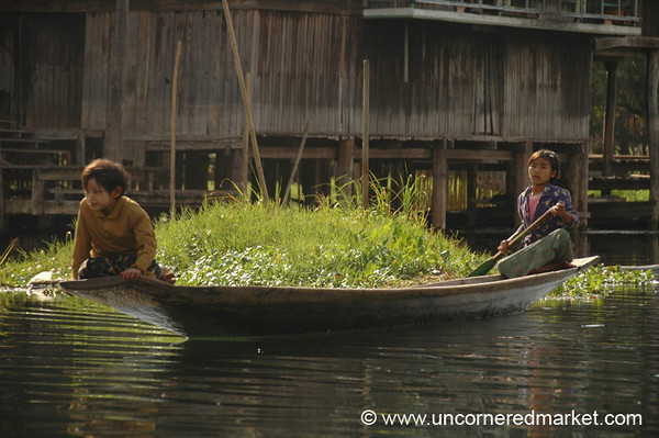 Rowing a Boat - Inle Lake, Burma