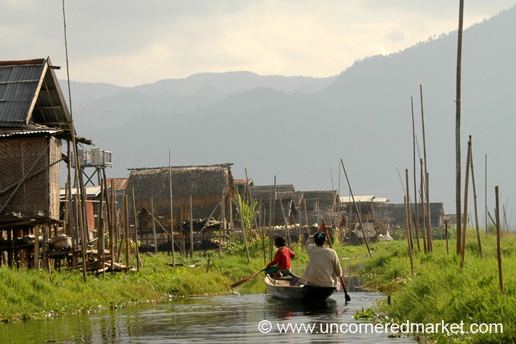 Women Paddling on Waterway - Inle Lake, Burma