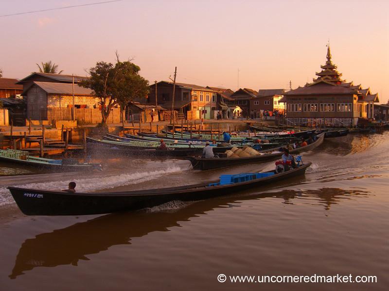 Boat Speeding Through Inle Lake - Nyaung Shwe, Burma