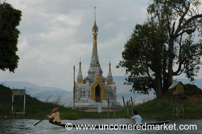 Rowing By the Buddhist Stupa - Inle Lake, Burma