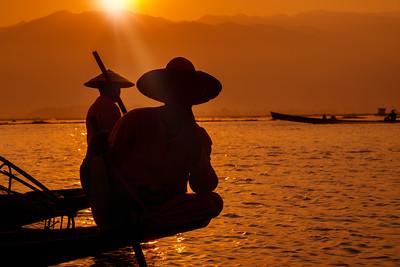 Enjoying mesmerising Inle Lake at sunrise.